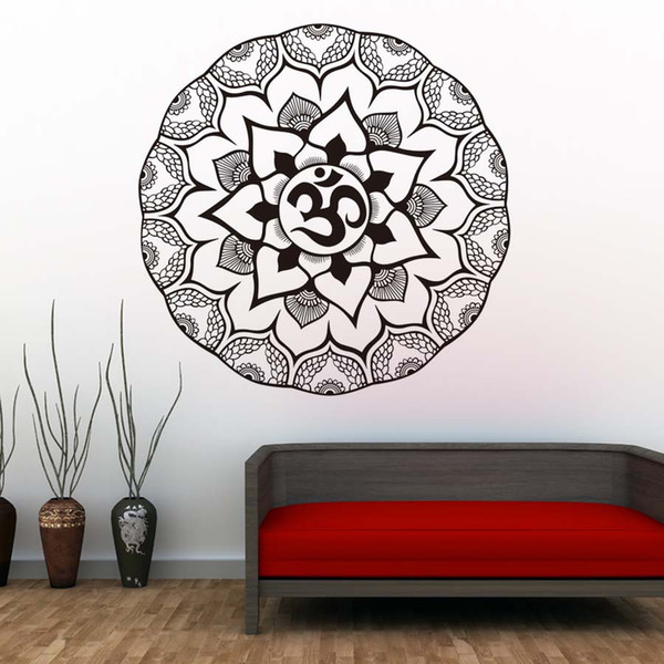 1 Pcs Indian Mandalas Wall Stickers Flower Pattern Wall Decals Vinyl Adhesive Removable Wallpaper For Bedroom Home Decor
