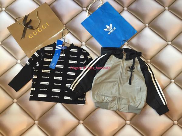 Conjunto de chaqueta de niño chaqueta de ropa de diseñador para niños + jersey de algodón 2 piezas de diseño de costura mangas conjuntos de otoño