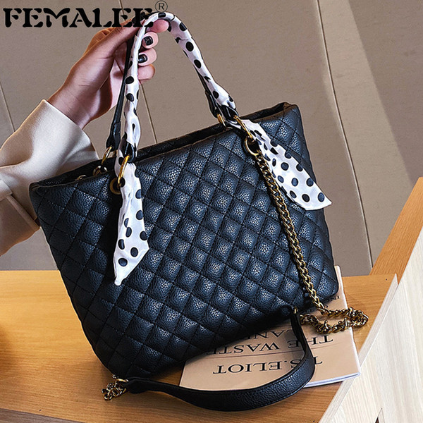 Women Scarf Large Chain Shoulder Bag Classic Plaid Handbag Design Tote Bag Fashion Lady Crossbody Shopping Sac