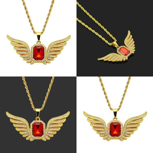 Hiphop hiphop Collier Red Diamond Hip Hop collier pendentif jewlery colliers colliers animaux médaillon pendentif en or costume hommes Collier