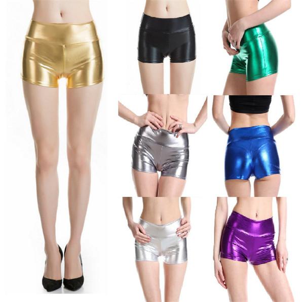 Plus Size Erwachsene Silber Metallic Shorts Rave Beute Shorts Mitte Taille Cheer PU Glänzende Tanzfrau Sexy