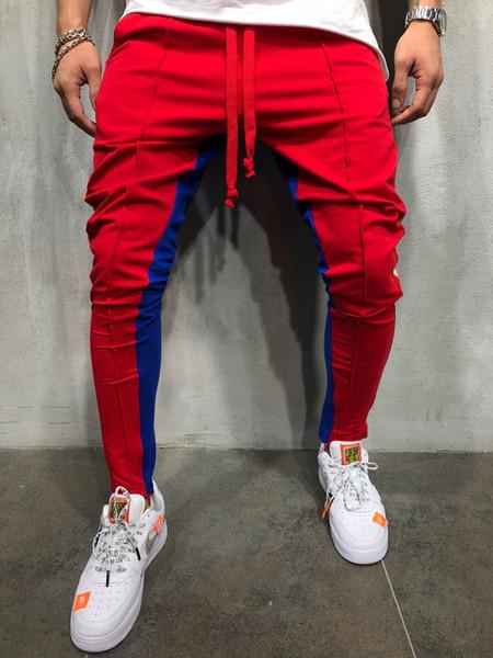Nuovo 5 colori moda uomo pantaloni della tuta lunghi blocco di colore Hip Hop Fitness piedi cerniera cucitura pantaloni di grandi dimensioni taglia M-XXXL