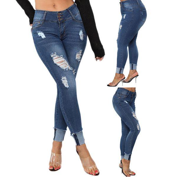 Las últimas llegadas de moda las mujeres calientes elásticos más tamaño Denim bolsillo botón Casual Boot Cut Pant Jeans Vintage damas de talle alto