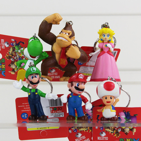 6pcs/lot Classic Super Mario Bros Figure With Keychain Mario Luigi Yoshi Peach Goomba King Kong PVC Action Toys