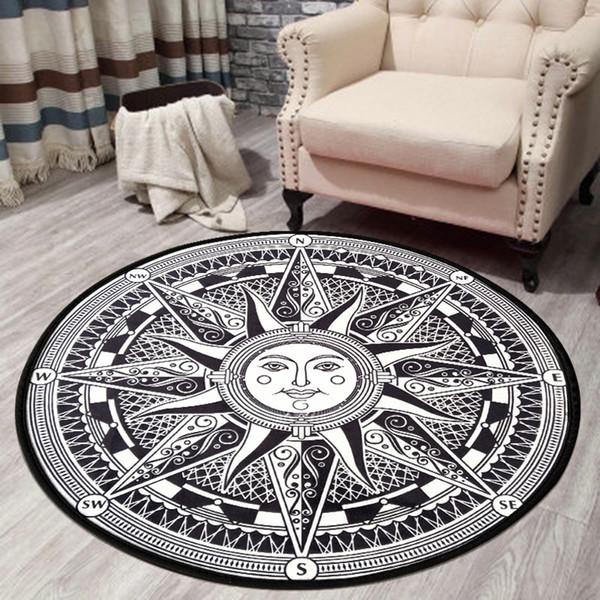 Tappeto Tappeto circolare Sun Pattern Door Mat Soggiorno camera da letto Computer girevole Sedia Hanging Basket Mat Carpet
