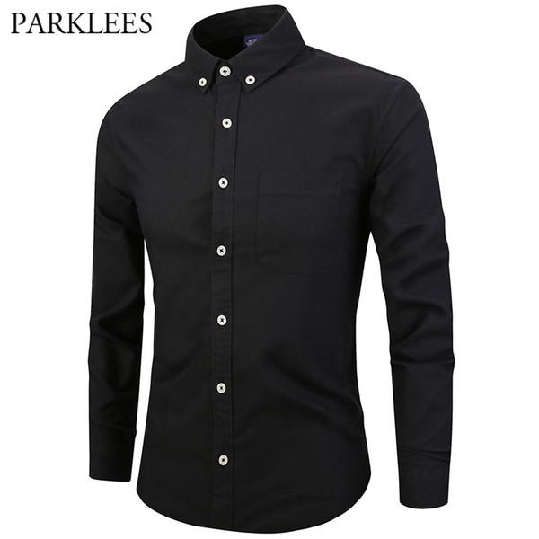 c99c29ec011 Мужские классические рубашки на пуговицах Черная рубашка из хлопка с  длинным рукавом из оксфорда Мужская повседневная