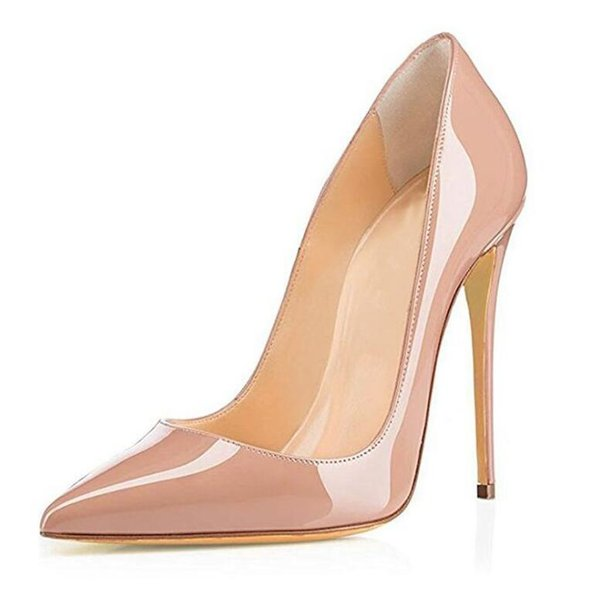 Hot Sale Sexy High Heels Pumps Thin Heels Patente Leather Women Shoe Rose Pink Green Red Black Nude Women Dress Heels Without Box