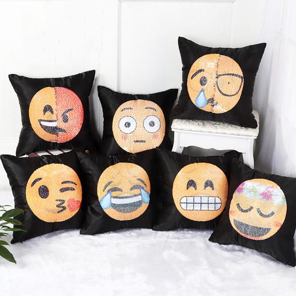 Pailletten Emoji Kissenbezug Cartoon Gesicht Schwarz Bett Kissenbezug Weiche Auto Decor Sofakissen Fall Ornament Helle Kissenbezug BH2221 TQQ
