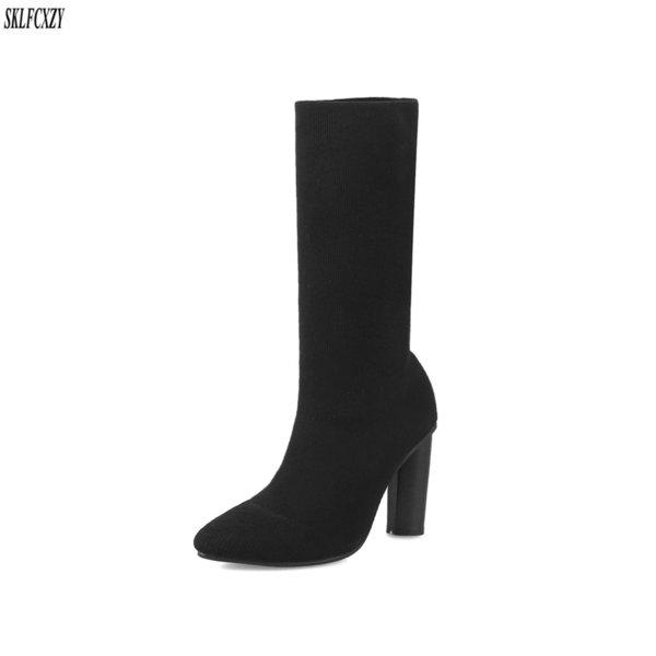 SKLFCXZY осень новый дизайн высокие каблуки среднего класса женские сапоги Женские сапоги Европейский повседневная обувь размер 34-43