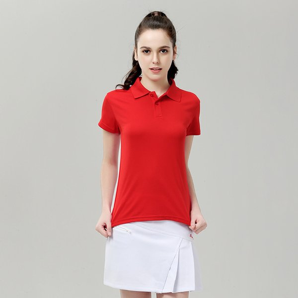 Female Sports Polo Shirts Women's Golf Shirts Short Sleeve Quick Dry Slim Outdoor Training Tennis Badminton Sportswear Tops
