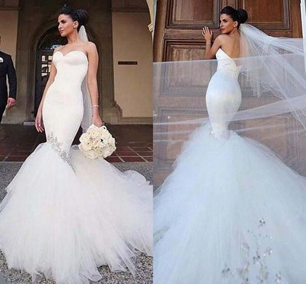 4d53f2ef Modern Strapless Mermaid Wedding Dresses 2019 Sleeveless Crystal Beaded  Tiers Skirt Tulle Bridal Gowns Custom Made