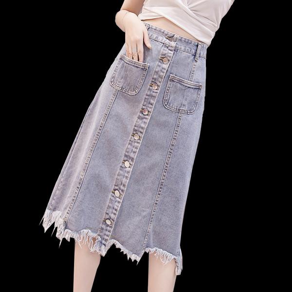 Primavera verano mujer para mujer botón de cintura alta volante borla falda de mezclilla, bolsillos borla irregular Jeans largos faldas para mujeres