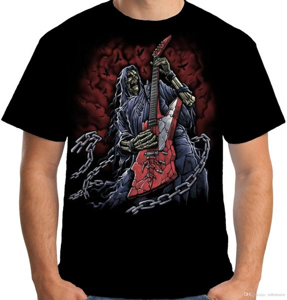 Velocitee Mens Grim Reaper Guitarist T Shirt Guitar Heavy Metal Skeleton A15419