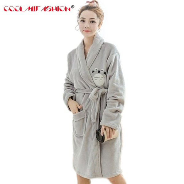 Roupão grosso de inverno dama de honra da menina Robes Set bonito Totoro caráter Animal camisola DuckHome roupas pijama Femme