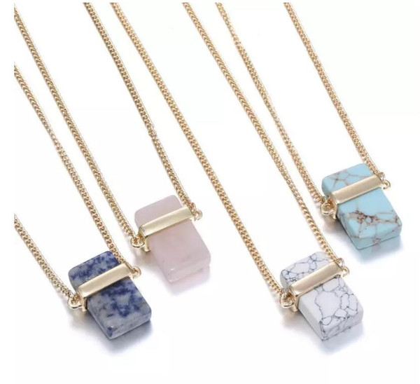 Natural Stone Pendants Rectangle Natural Crystal Stone Stone Pendant Necklaces Quartz Stones Necklace Rectangular Crystal Necklace MOQ 10pcs