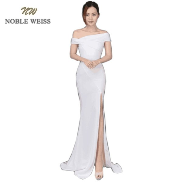 wholesale Chic Boat Neck Evening Gown 2019 Sexy Thigh High Slits High Quality Prom Dress Slim Simple Evening Dress