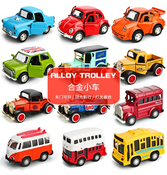 Alloy Trolley Music Light Back Force Car Inertial pull back Truck Bus Racing Toy SUV Car Vehicle toy Boy Girls Gift kids Present