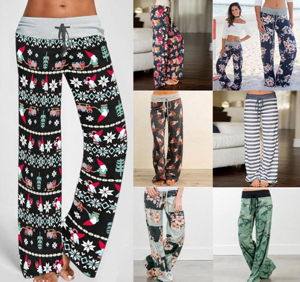 Yoga floral de las mujeres Pantalones Palazzo 38 Estilos de verano pantalones de pierna ancha floja Deporte Harem flojo Boho pantalones largos OOA5197