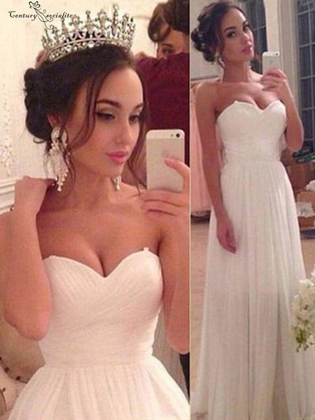Simple Chiffon Beach Wedding Dresses Sweetheart Neck Lace Up Back Sweep Train Plus Size Boho Garden Bridal Gowns