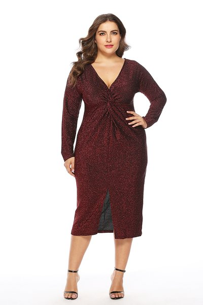 2019 European and American autSexy V-neck skirtumn and winter new fat mm large size women's sexy V-neck dress dress skirt