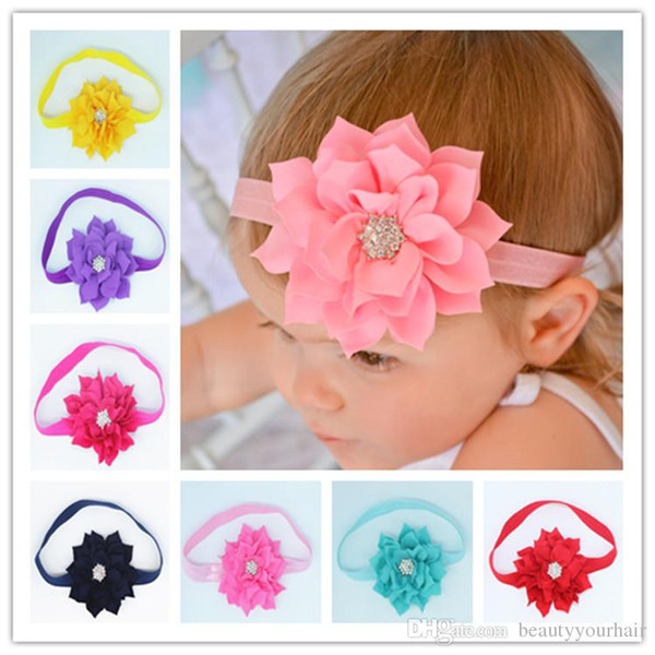 Beautiful Children baby flower head bands kids girls lace headbands bow hair accessories hair bows with crystal