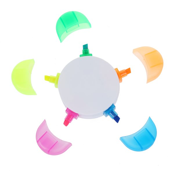 Creative Flower/ Star Shap 5 Color Highlighter Pen Marker Pen for School, Office, Promotion Gift Stationery Marking Pen Writting Highlighter