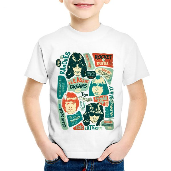 Fashion Print Ramones Rock Band Children Funny T-shirts Kids Hip Hop Swag Summer Tees Boys/Girls Casual Tops Baby Clothes,HKP289