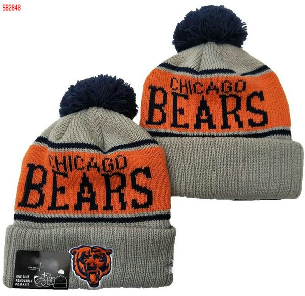 Wholesale BEARS beanie CHI Beanies Winter cap Crucial Catch Pom Luxury Sport Pro Line by Fanatics Team Haze II Cuffed Knit Hat 07