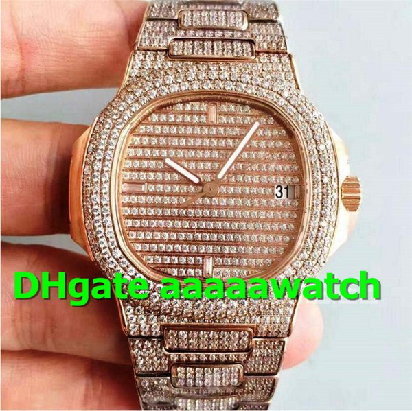 Top 5719/1G-001 Mens Watch 40.5mm Miyot 9015 Movement Full Diamond Crystal 18K Rosegold Case Diamond Mens Designer Watches