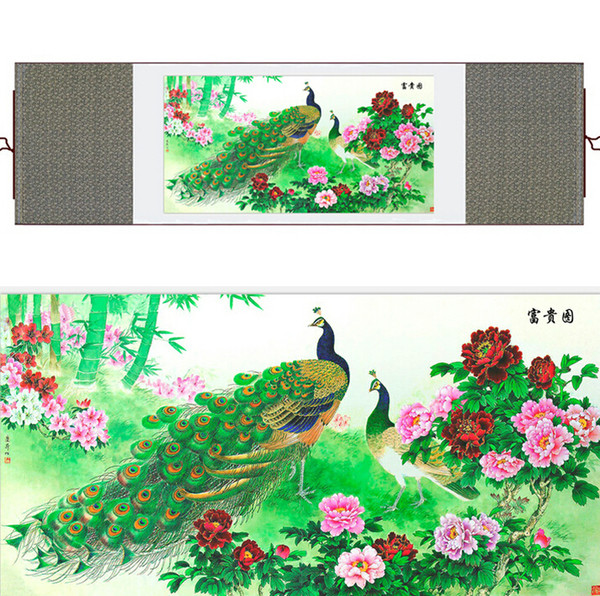 Chinese Traditional Art Painting Birds In The Water Silk Scroll Painting Peacock Paintingprinted Painting2019061440