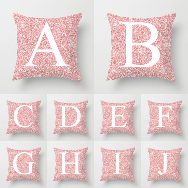 top popular DHL Pink Peach Skin Initials Pillow Cover Letter Print Throw Pillow Cushion Covers Car Soft Pillow Case Home Decoration 2021