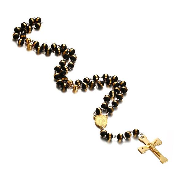 Das mulheres dos homens de aço inoxidável colar de pingente de borracha tom de ouro preto virgem maria jesus cristo crucifixo cruz rosário de 30 polegadas cadeia