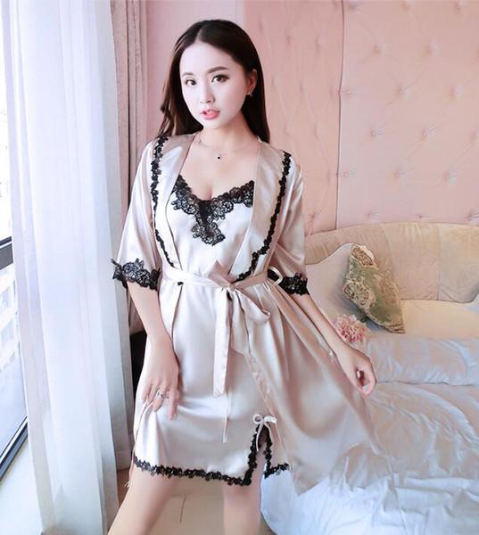 Women Hot Silk Robe Femme Set Lace 2pcs Sets Pyjamas for Women Indoor Clothing