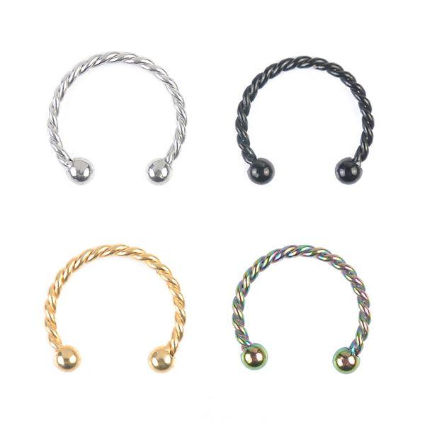 Sale 1pc C Shaped Twist Lip Nose Rings Studs Piercing 8mm 10mm Stainless Steel Unisex Men Women Ear Nose Stud Body Jewelry