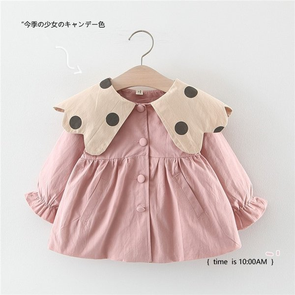 best selling 2019 kids clothes Girls' Jacket Solid Color Dot Collar Net Color Trench Coat Autumn Children's Wear