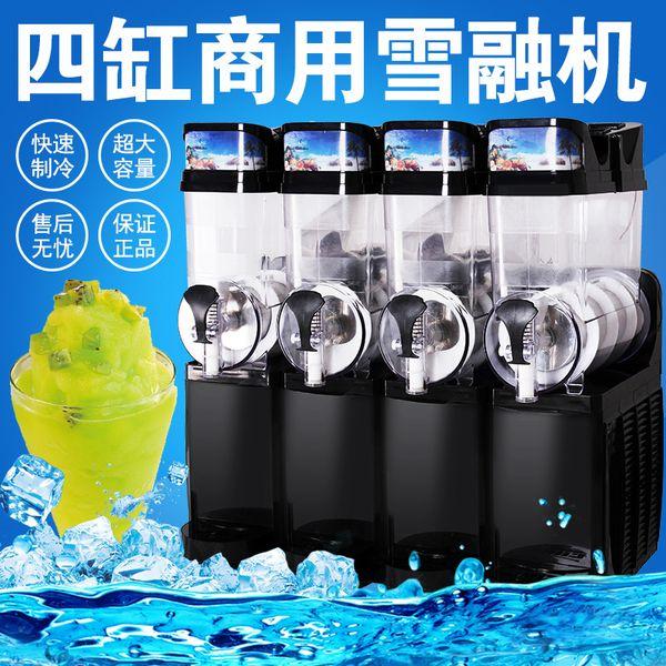 Kostenloser Versand Gewerbe Slush-Maschine 15L * 4 Schneeschmelzmaschine 4 Behälter Eisbrei Kaltgetränkespender Smoothies Maschine zu verkaufen