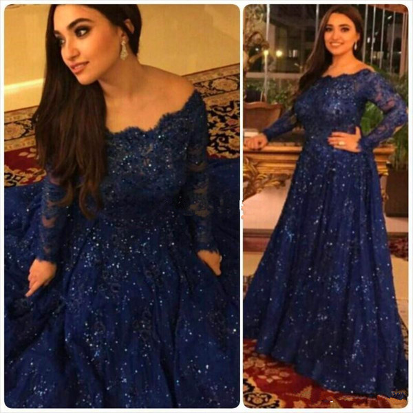 2019 Bling Bling Evening Dresses Long Sleeves Beads Ruffled Sweep Train Plus Size Arabic Navy Blue Sequins Lace Formal Prom Gowns