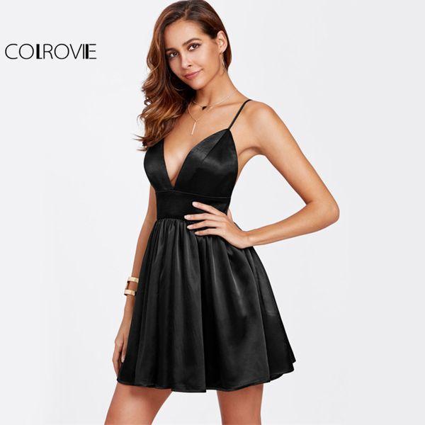 Colrovie Black Bustier Satin Cami Dress Sexy Party Women Backless Empire A Line Dresses Deep V Neck Zip Back Skater Dress T4190615