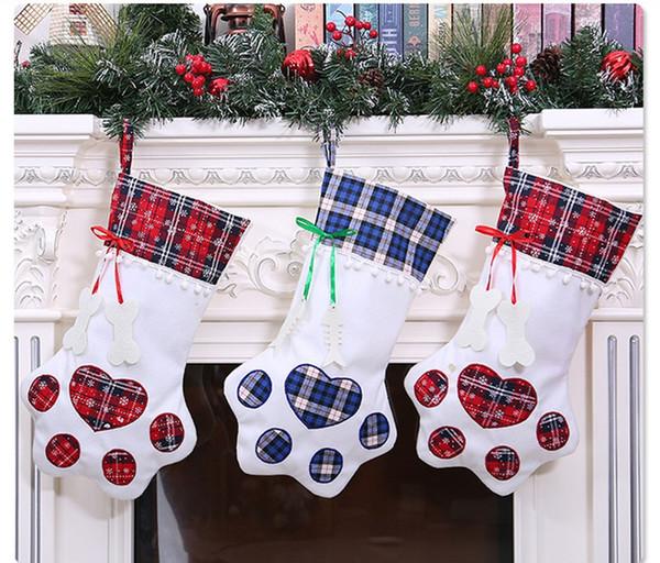 Creative Dog Paw 20*45cm Christmas Stockings Christmas Decoration Home Scene Layout Wall Hanging Supplies Christmas Socks Gift Bag