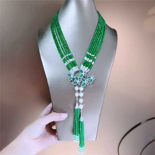 Hand knotted 6strands green jade white fresh water small pearl micro inlay zircon accessoriese clasp sweater necklace