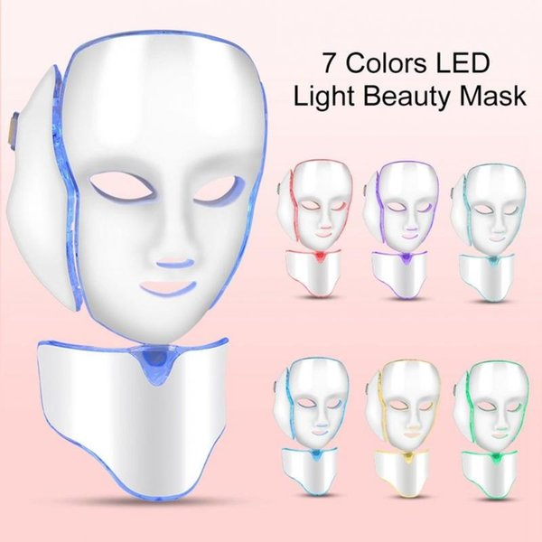 LM001 PDT 7 Colors LED Light Therapy Face Beauty Machine LED Facial Neck Mask With Microcurrent Skin Care Masks CCA11425 1pcs