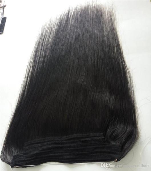 Vente chaude de cheveux brésiliens avec Halo Flip dans les extensions de cheveux, 1pc 100G ligne de poisson facile Tissage de Cheveux Prix de Gros