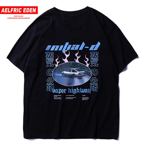 Aelfric Eden New Japanese Streetwear Tshirt Harajuku Oversized T-Shirt Hip Hop Uomo Japan Style Car O-Collo in cotone T Shirt SH190629