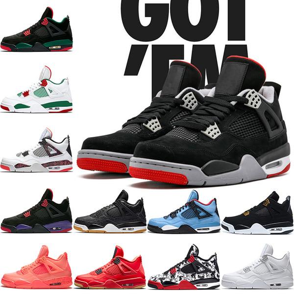 Nike Air Jordan Retro 4s Мужчины Баскетбольные Кроссовки 4 Bred NRG Черный Белый Лазерная Резин