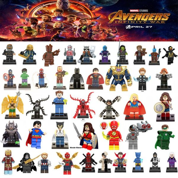 Building Block Puzzle Super heros Marvel Toys Captain America deadpool Batman thanos Hulk Ironman Superman Spiderman ironman Mini Figure