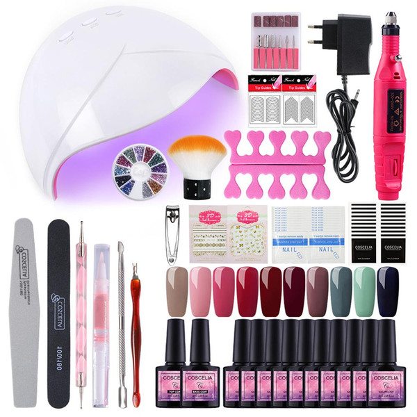 10 Colors Gel Nail Polish Set Manicure Set 36W UV Led Lamp Dryer Nail Art Tools Gel Varnish All For Manicure Tools Kit