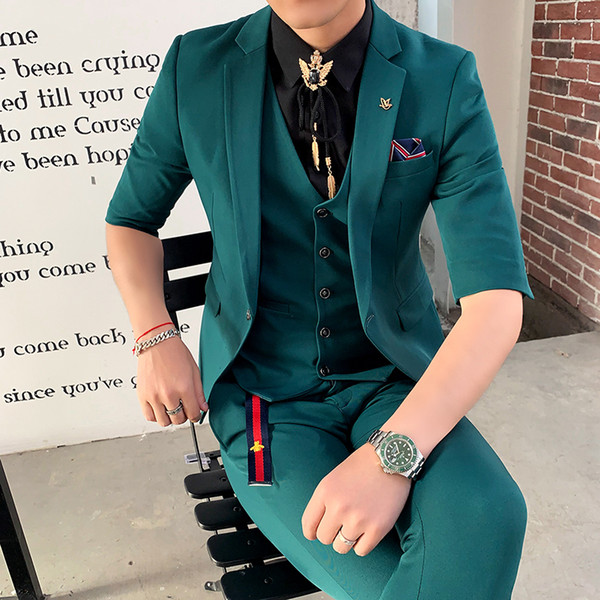 39ab7e1211 2019 Green Suits Mens Slim Fit Suits Pink New Tuxedo 2019 Red Terno Smoking  Men'S Elegant White Wedding Dinner Dress From Karel, $119.17 | DHgate.Com