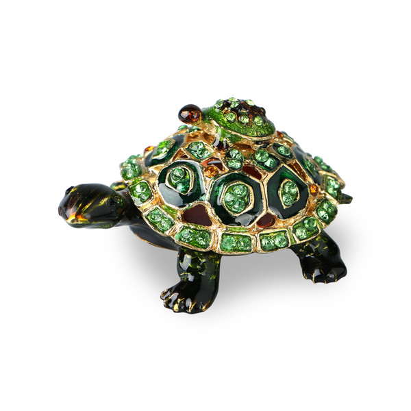 Turtle Trinket Jewelry Box with Sparkling Light Green Crystals,Metal Trinket Box Hand-painted Figurine Collectible Ring Holder