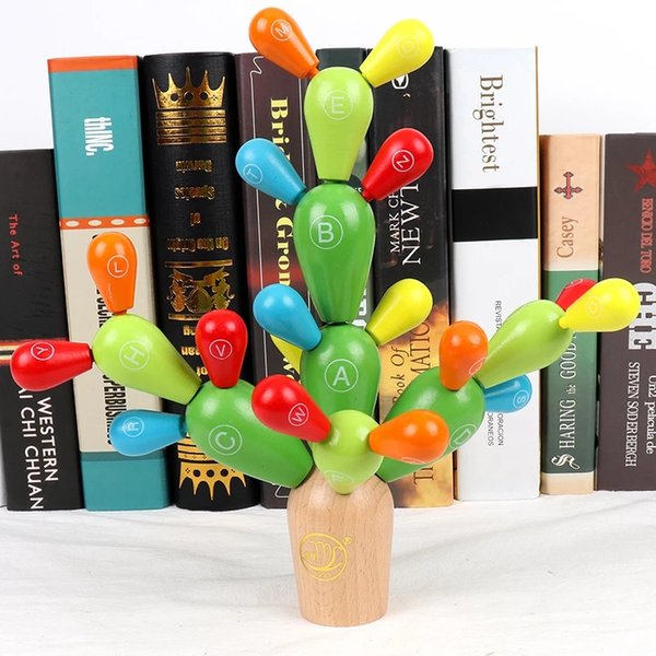Creative building blocks disassembly spell inserted cactus children early education teaching aids puzzle wooden fairy ball matching toys