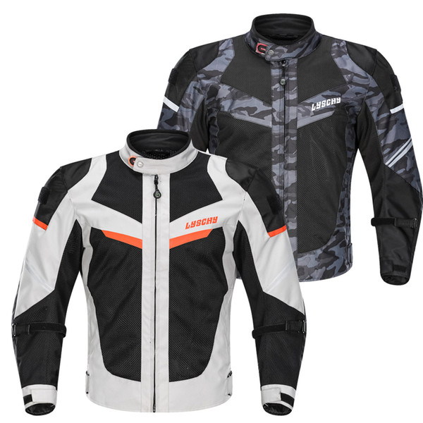 LYSCHY Summer Mesh Motorcycle Jacket Moto Protector Causal Street Road Motocross Body Armour Waterproof Protective Gear Jackets